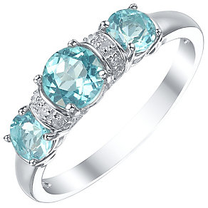 9ct White Gold 3 Stone Apatite & Diamond Eternity Ring - Product number 4723422
