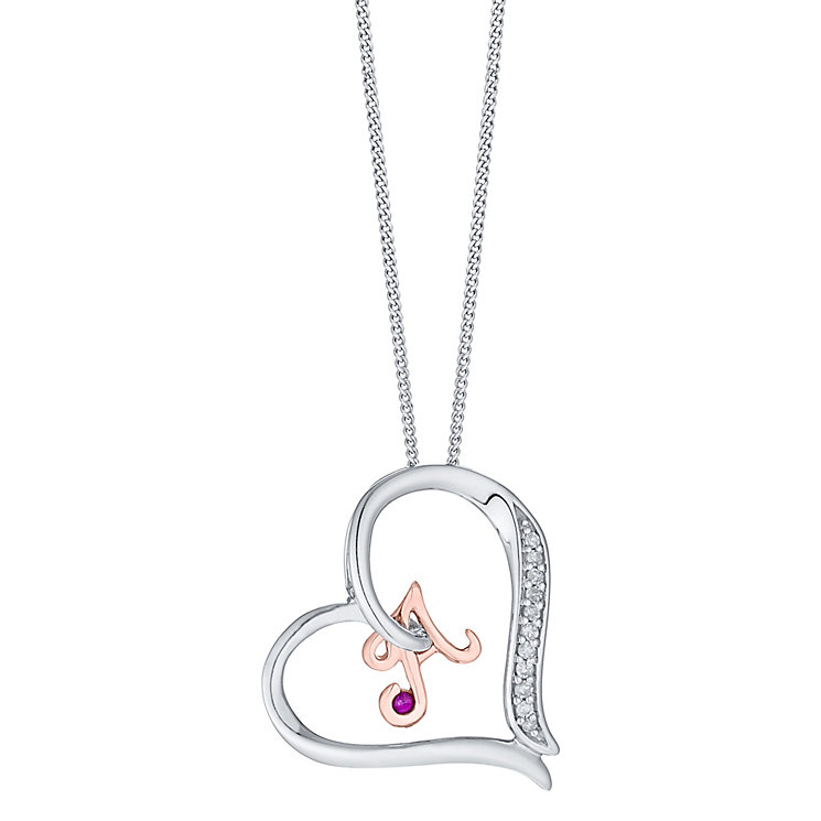 Silver & 9ct Rose Gold Diamond Set Initial A Pendant - Product number 4724194