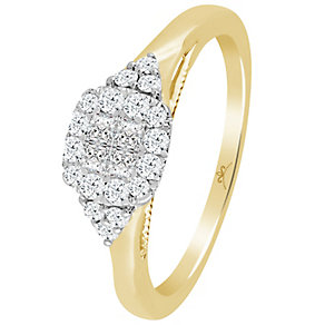 9ct Gold 1/3 Carat Diamond Princessa Cluster Ring - Product number 4724429