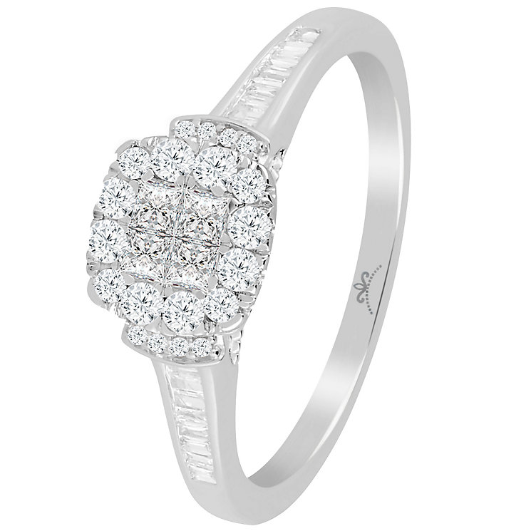 9ct White Gold 0.40 Carat Diamond Princessa Cluster Ring - Product number 4725786