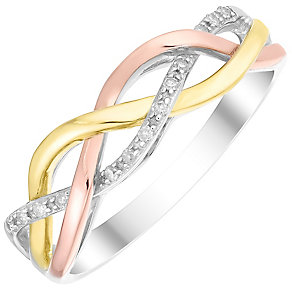 9ct Gold Three Colour Diamond Set Eternity Ring - Product number 4725905