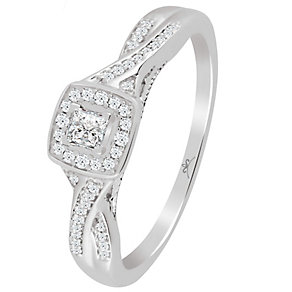 9ct White Gold 1/5 Carat Princess Cut Diamond Ring - Product number 4726308