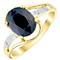9ct Gold Oval Sapphire & Diamond Twist Ring - Product number 4726421