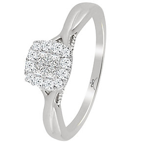 9ct White Gold 1/4 Carat Diamond Princessa Cluster Ring - Product number 4726715