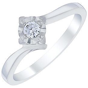 9ct White Gold 1/10 Carat Diamond Solitaire Ring - Product number 4727533