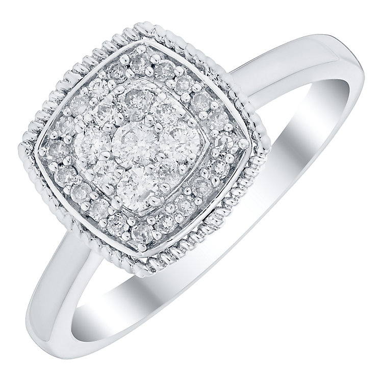 9ct White Gold 1/4 Carat Diamond Cluster Ring - Product number 4727665