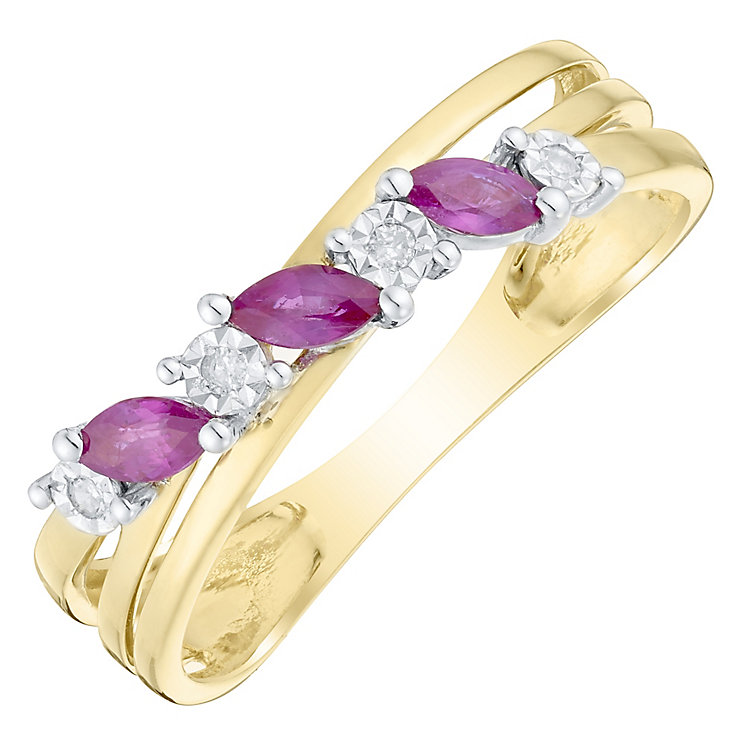9ct Gold Ruby & Diamond Marquise Crossover Ring - Product number 4727851