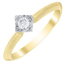 9ct Gold 1/10 Carat Diamond Solitaire Set Ring - Product number 4728157