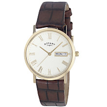 Rotary Winsor Men's Gold-Plated Leather Strap Watch - Product number 4728173