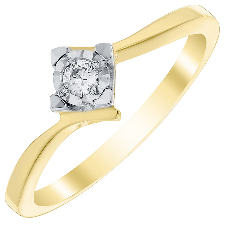 9ct Gold Diamond Solitaire Illusion Square Set Twist Ring - Product number 4728610