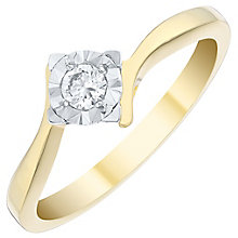 9ct Gold 1/10ct Diamond Solitaire Ring - Product number 4729617