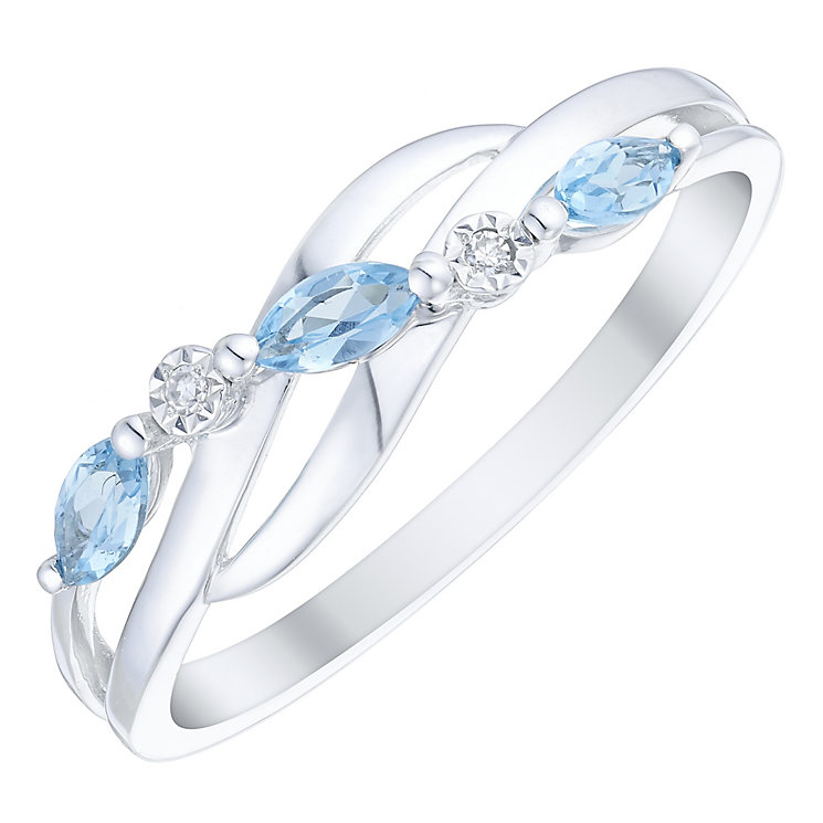 9ct White Gold Blue Topaz & Diamond Marquise Eternity Ring - Product number 4729935