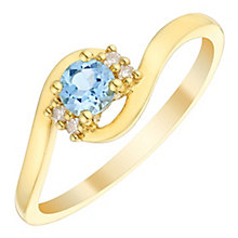 9ct Gold Blue Topaz & Diamond Twist Ring - Product number 4730593