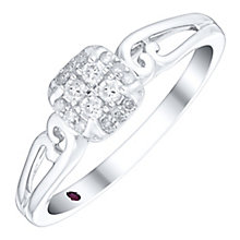 Cherished Argentium Silver Diamond Square Cluster Ring - Product number 4730860