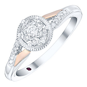 Cherished Argentium Silver & 9ct Rose Gold Diamond Ring - Product number 4731255