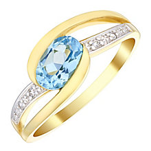 9ct Gold Blue Topaz & Diamond Oval Twist Ring - Product number 4731417