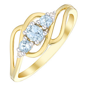 9ct Gold Aquamarine & Diamond Twist Ring - Product number 4731700