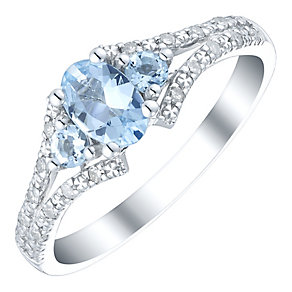 9ct White Gold Aquamarine & Diamond Split Shoulder Ring - Product number 4731964