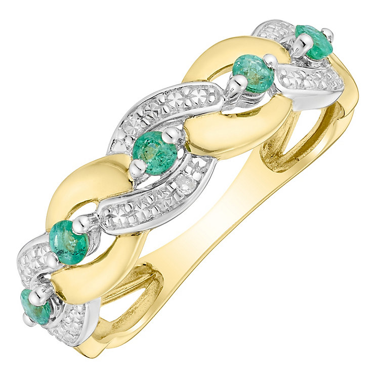 9ct Gold Emerald & Diamond Plaited Eternity Ring - Product number 4732987