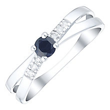 Sterling Silver Sapphire & Diamond Shoulders Crossover Ring - Product number 4733274