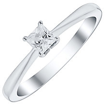 9ct White Gold 1/4 Carat Princess Cut Diamond Solitaire Ring - Product number 4734424