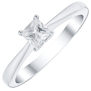 9ct White Gold 1/3 Carat Princess Cut Diamond Solitaire Ring - Product number 4734556