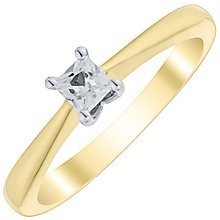 9ct Gold Two Colour 1/3 Carat Princess Cut Diamond Ring - Product number 4734815