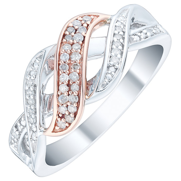 Silver & 9ct Rose Gold 0.12ct Diamond 3 Row Eternity Ring - Product number 4734947
