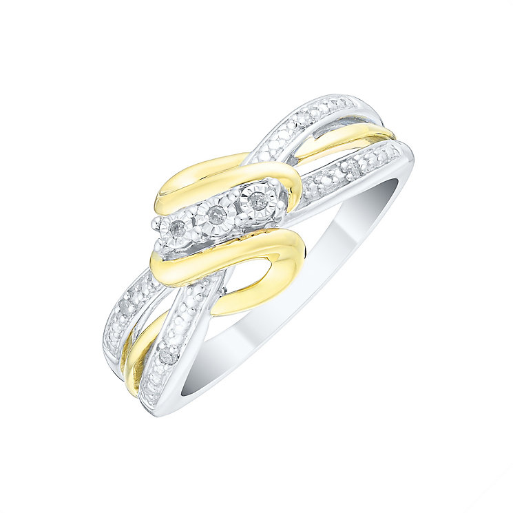Silver & 9ct Gold Diamond Trilogy Eternity Ring - Product number 4735528