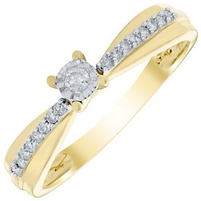 9ct Gold 0.12 Carat Diamond Solitaire Ring - Product number 4735641