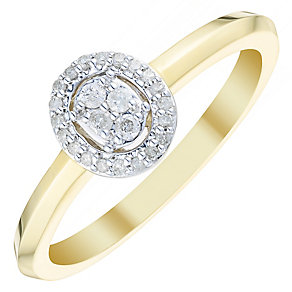 9ct Gold 1/10 Carat Diamond Oval Cluster Ring - Product number 4735919