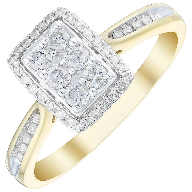9ct Gold 1/3 Carat Diamond Rectangular Cluster Ring - Product number 4736052