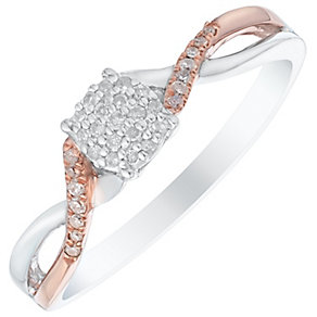 Silver & 9ct Rose Gold 1/10 Carat Diamond Cluster Ring - Product number 4736184