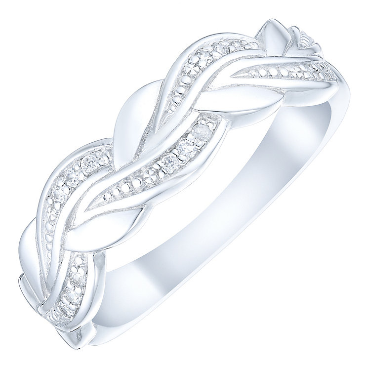 9ct White Gold Diamond Plaited Eternity Ring - Product number 4736311