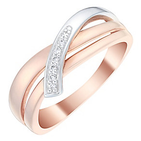 9ct Two Colour Gold Diamond Set 3 Row Eternity Ring - Product number 4736443