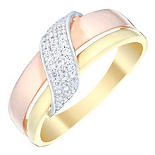9ct Gold Three Colour Diamond Double Row Eternity Ring - Product number 4736702