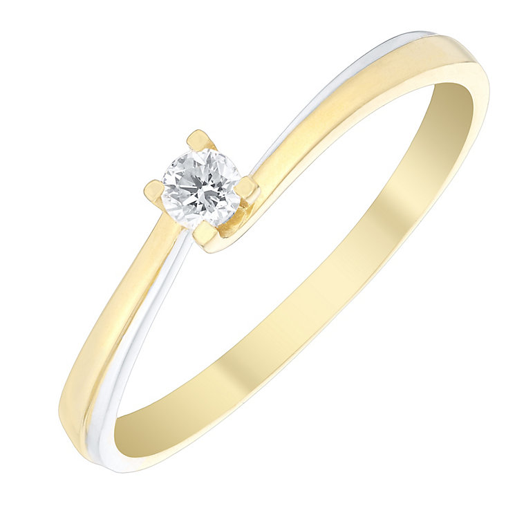 9ct Gold 2 Colour Diamond Solitaire Twist Ring - Product number 4737539