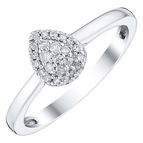 Sterling Silver 1/10 Carat Diamond Pear Shaped Cluster Ring - Product number 4738152