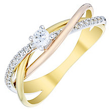 9ct Gold 3 Colour 1/5ct Diamond Solitaire Crossover Ring - Product number 4738306