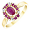 9ct Gold Ruby & Diamond Oval Halo Ring - Product number 4738594