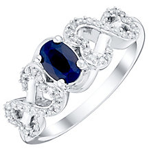 Open Hearts Silver 0.15 Carat Oval Sapphire & Diamond Ring - Product number 4739213