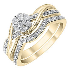 Perfect Fit 9ct Gold 1/4ct Diamond Crossover Bridal Set - Product number 4739973