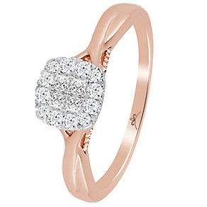 9ct Rose Gold 1/4 Carat Diamond Princessa Cluster Ring - Product number 4740157