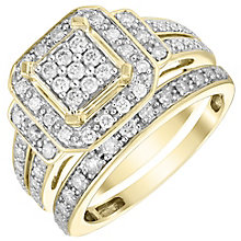 Perfect Fit 9ct Gold 2/3ct Diamond Cluster Bridal Set - Product number 4740300