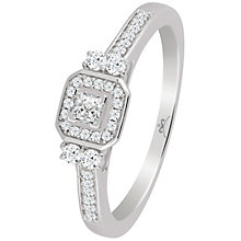 9ct White Gold 1/4 Carat Diamond Octagonal Princessa Ring - Product number 4740475