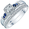Perfect Fit 9ct White Gold 0.15ct Sapphire Bridal Set - Product number 4740602
