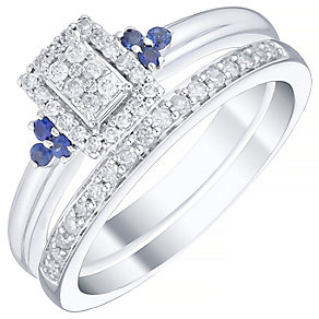 Perfect Fit 9ct White Gold Sapphire 1/5ct Diamond Bridal Set - Product number 4740874