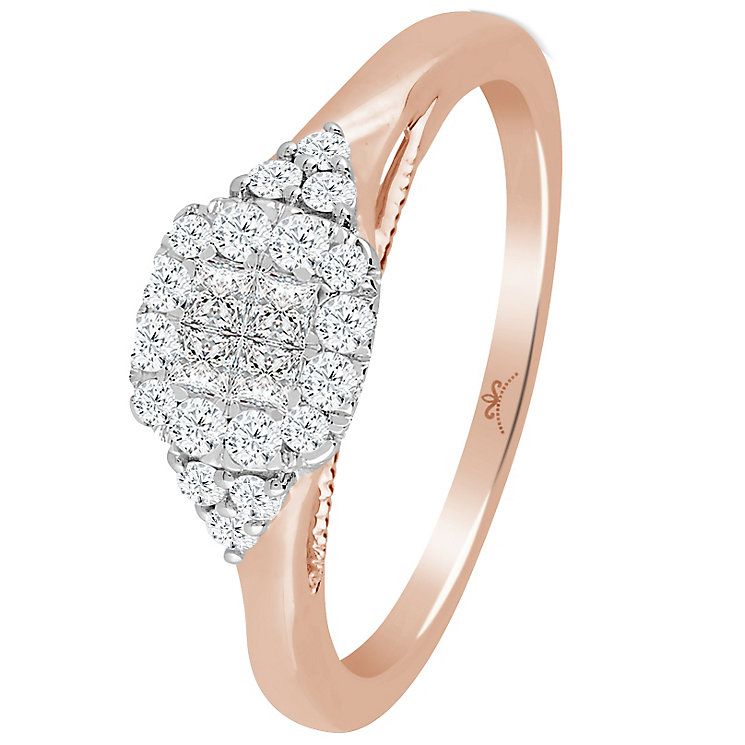 9ct Rose Gold 1/3 Carat Diamond Princessa Cluster Ring - Product number 4741005