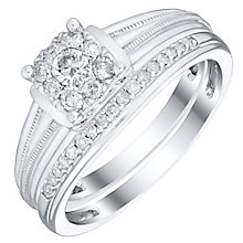 Perfect Fit 9ct White Gold 1/4ct Diamond Cluster Bridal Set - Product number 4741188