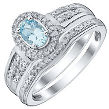Perfect Fit 9ct White Gold Aquamarine 0.15ct Bridal Set - Product number 4741862
